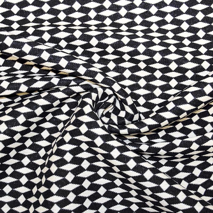 Tkanina, elastična, geometrijski, 17413-997, črna
