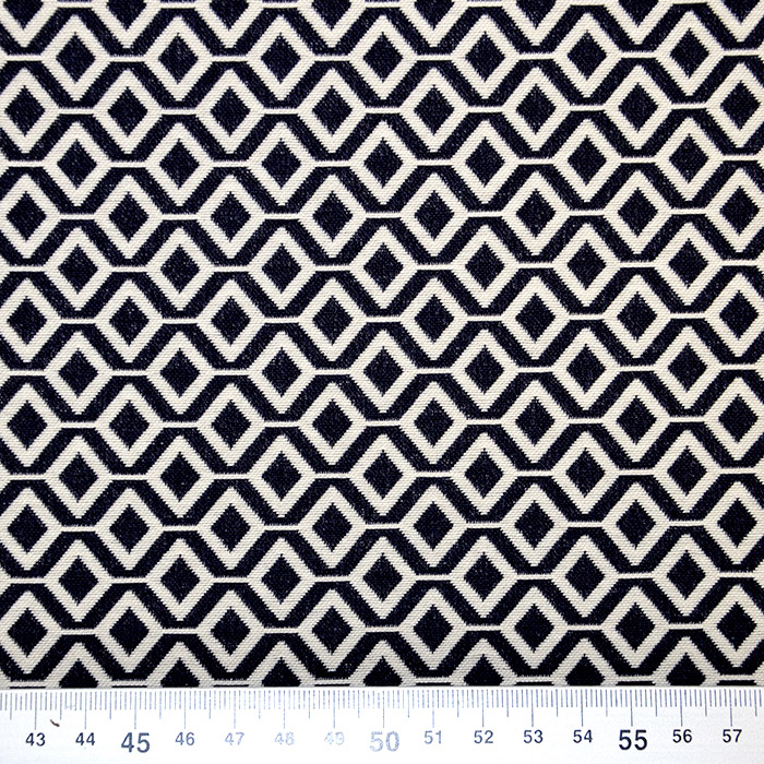 Tkanina, elastična, geometrijski, 17413-602, modra