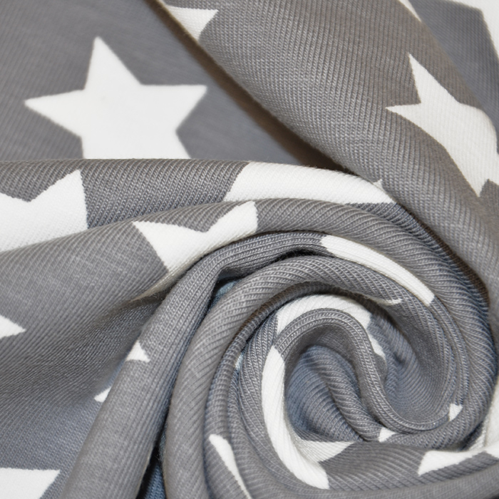 Jersey, bombaž, zvezde, 17369-3002, siva