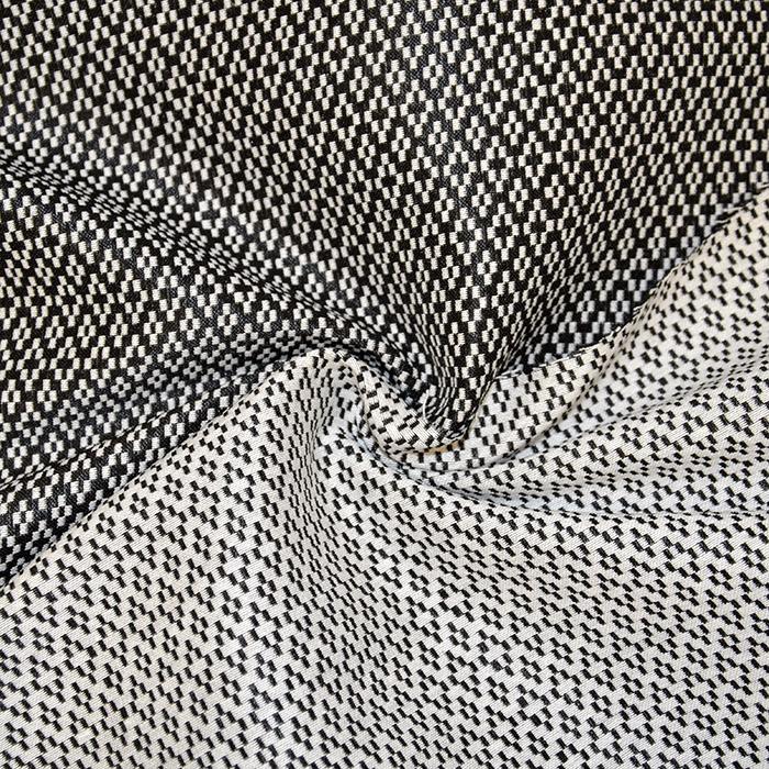 Žakard, obojestranski, geometrijski, 17603-269, črno bela