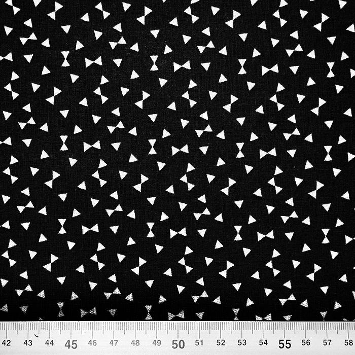 Bombaž, poplin, geometrijski, 17881-6, črna