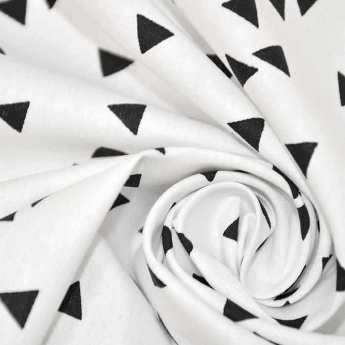 Bombaž, poplin, geometrijski, 17948-101, črno bela