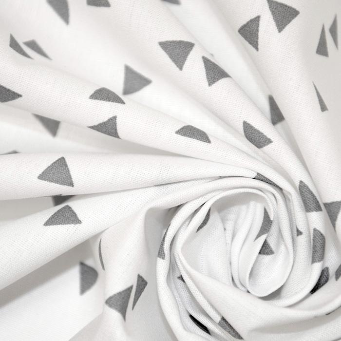 Bombaž, poplin, geometrijski, 17948-113, sivo bela
