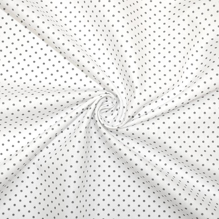 Bombaž, poplin, pikice, 17950-113, sivo bela