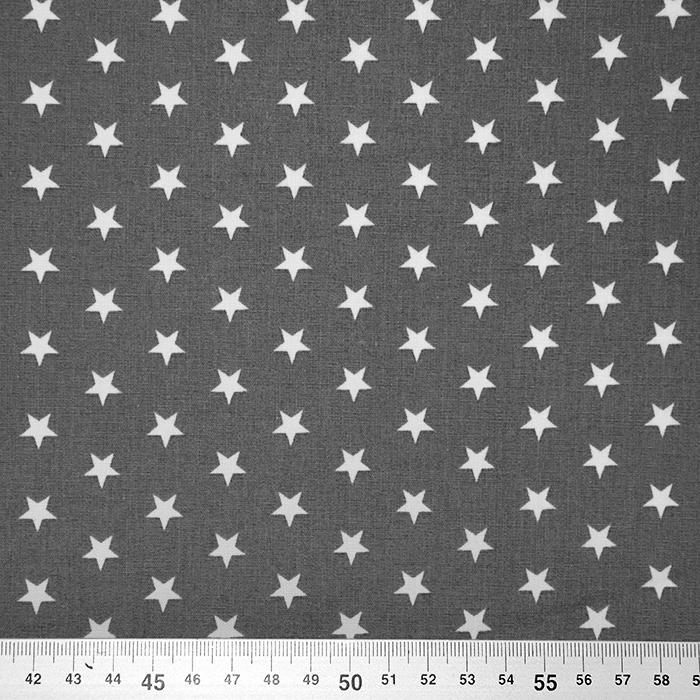 Pamuk, popelin, zvijezde, 17951-013, siva