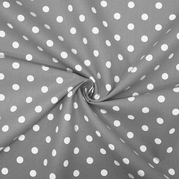 Pamuk, popelin, točke, 17952-013, siva