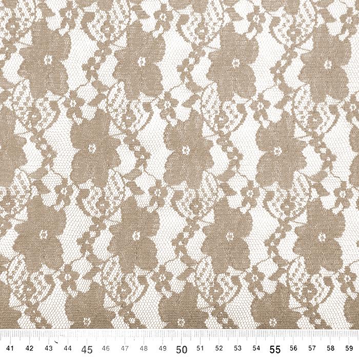 Čipka, elastična, cvetlični, 18132-13, bež