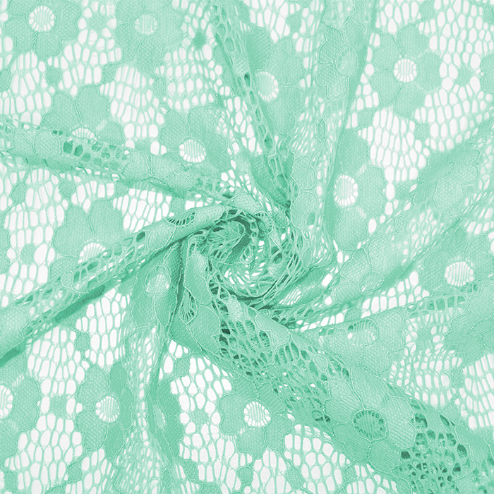 Čipka, elastična, cvetlični, 18132-18, mint