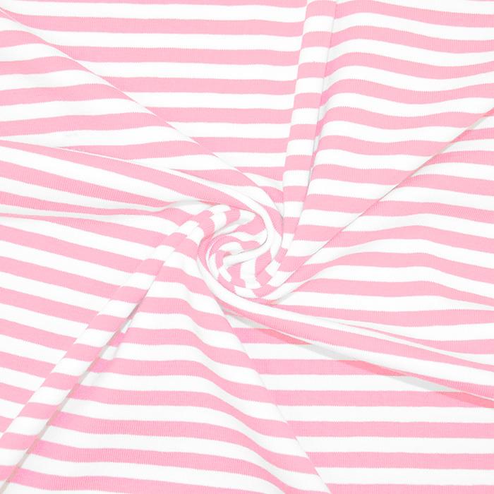 Jersey, bombaž, črte, 17622-011, roza