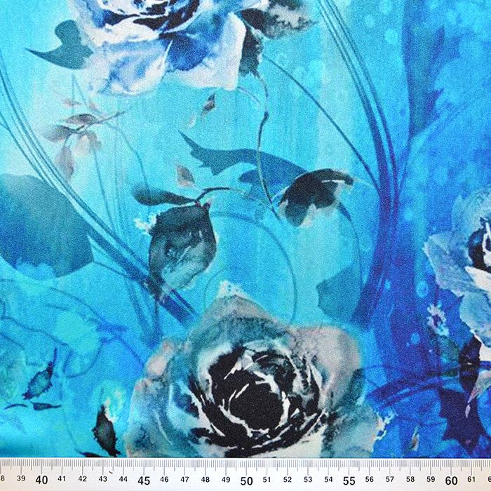 Svila, saten, digital tisk, cvetlični, 18270-14