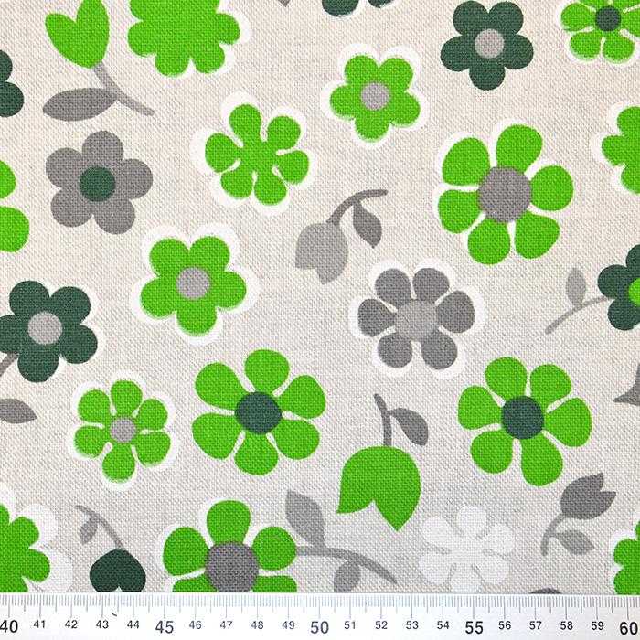 Deko, tisk, impregniran, cvetlični, 18277-6026, zelena