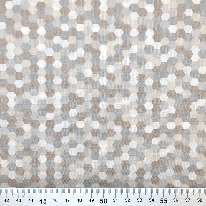 Bombaž, poplin, geometrijski, 18279-138, siva