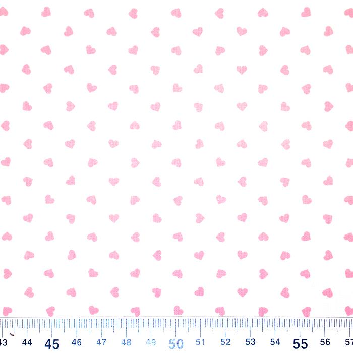 Bombaž, poplin, srčki, 18280-44, belo roza
