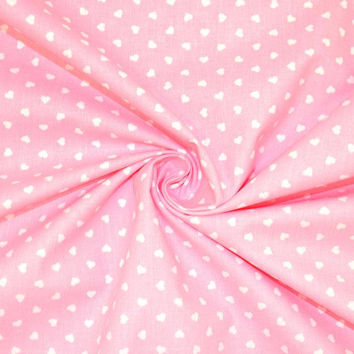 Pamuk, popelin, srca, 18280-48, ružičasta