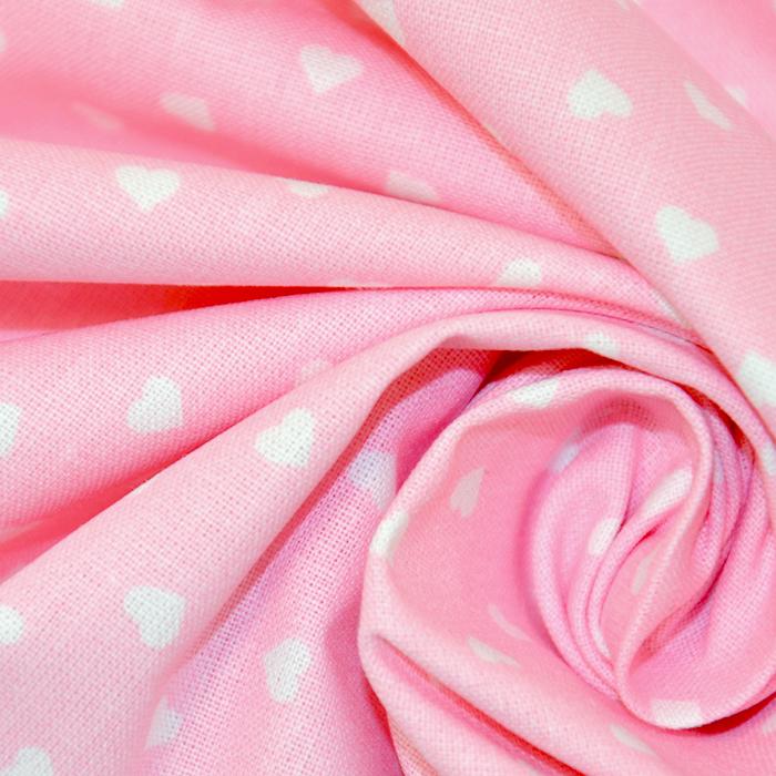 Bombaž, poplin, srčki, 18280-48, roza