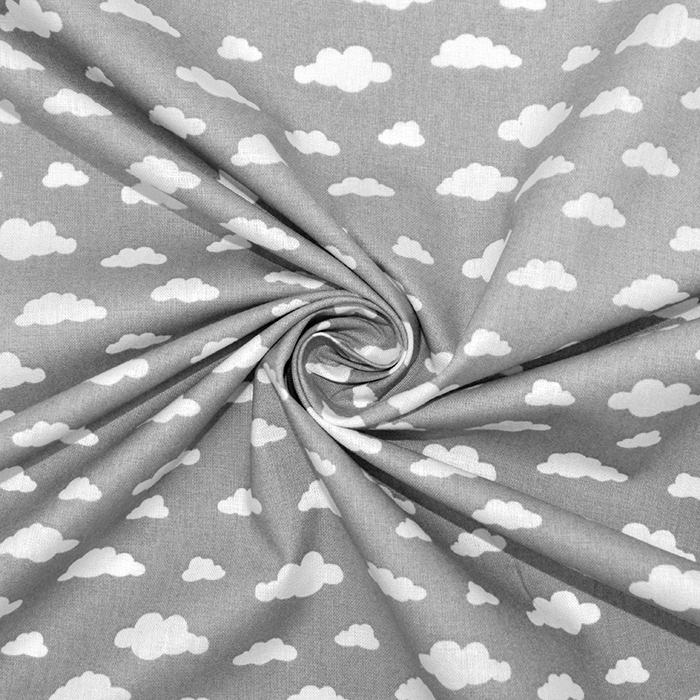 Bombaž, poplin, oblaki, 18421-2, siva