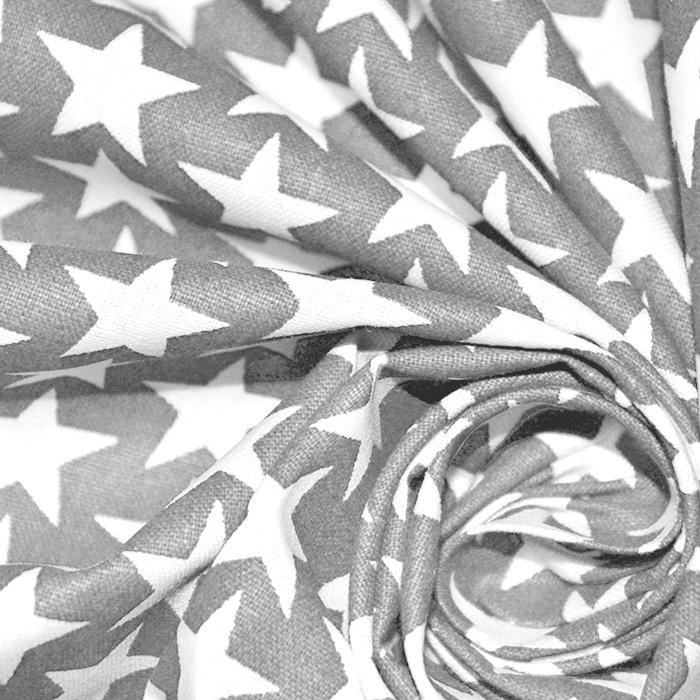 Bombaž, poplin, zvezde, 18422-2, siva