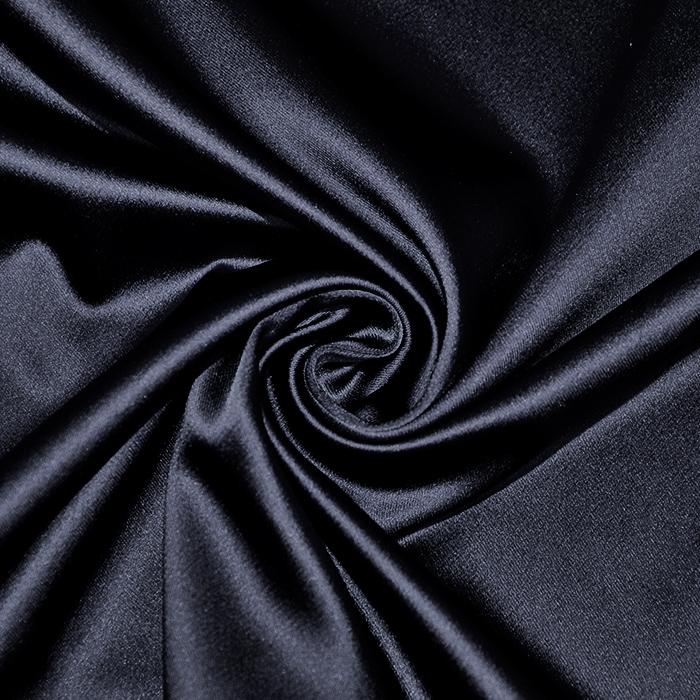 Saten tkanina z elastanom, 17508-12, temno modra