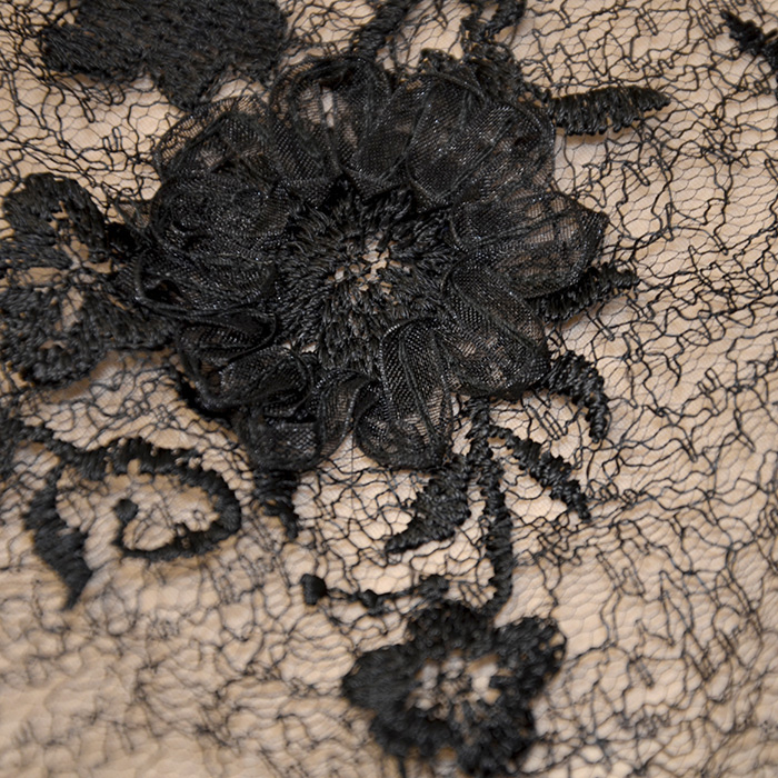 Čipka, cvetlični, 18463-2, črna
