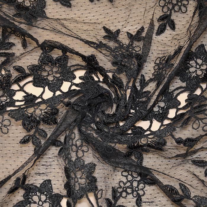Čipka, cvetlični, 18470-2, črna