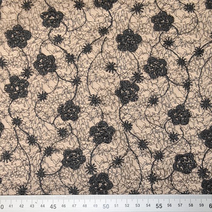 Čipka, cvetlični, 18473-2, črna