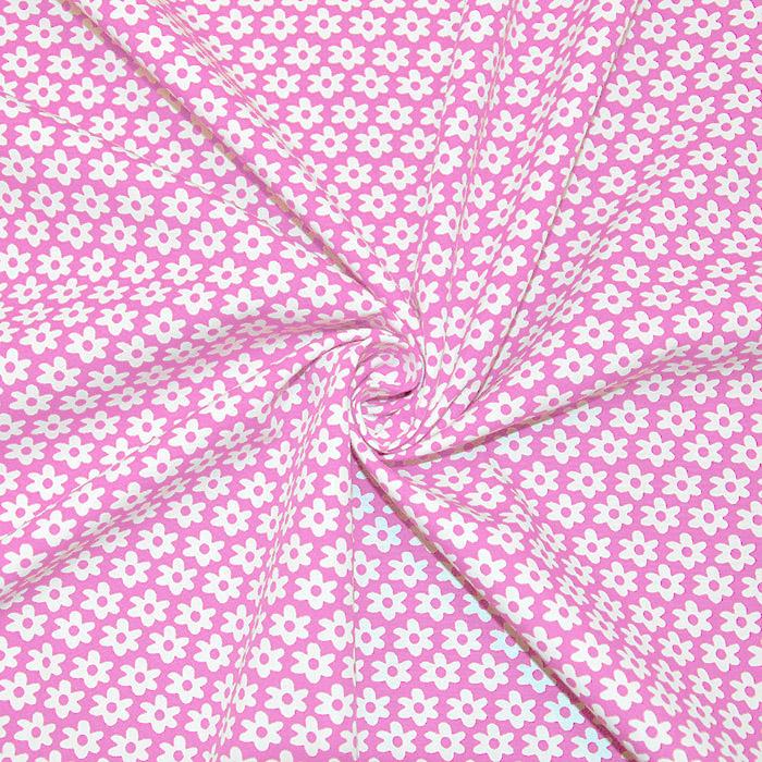 Bombaž, poplin, rožice, 16048-012, roza
