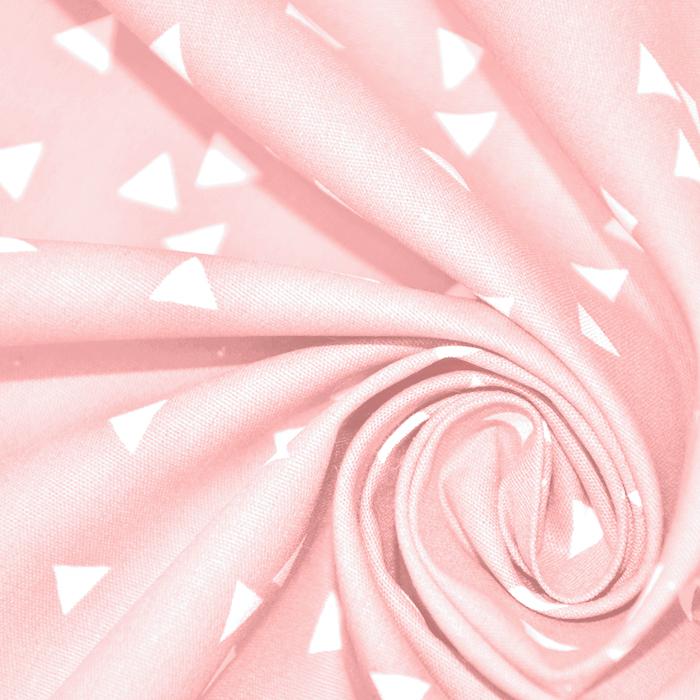 Bombaž, poplin, geometrijski, 17948-021, roza