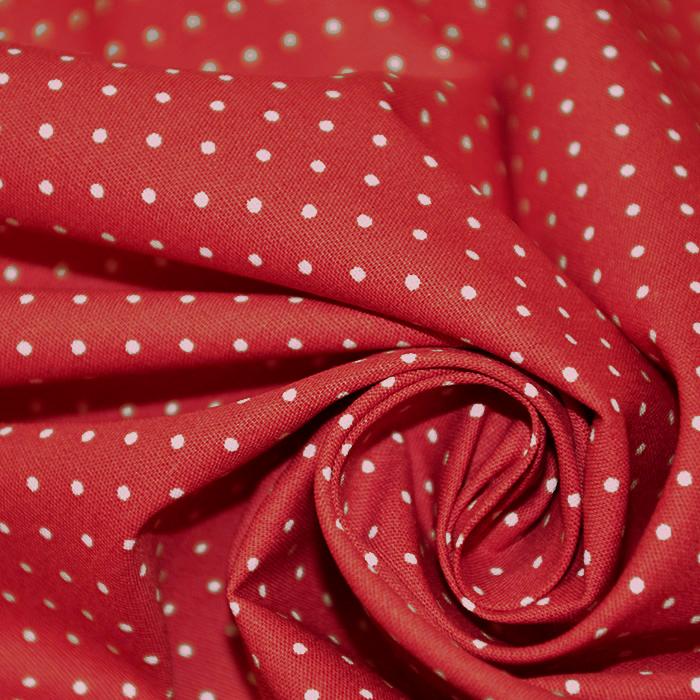 Bombaž, poplin, pikice, 17950-004, rdeča