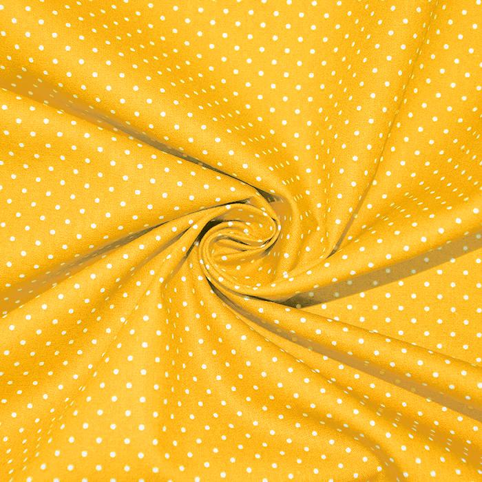 Bombaž, poplin, pikice, 17950-016, rumena