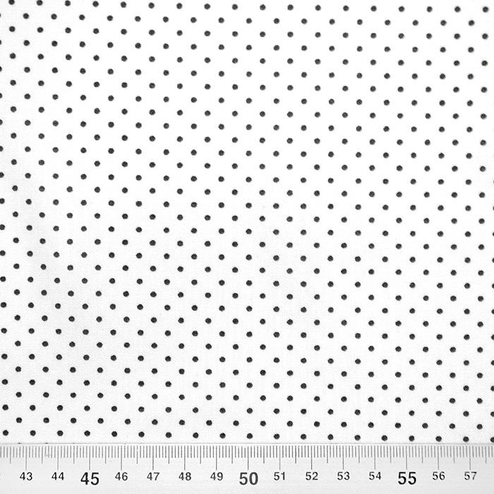 Bombaž, poplin, pikice, 17950-101, belo črna