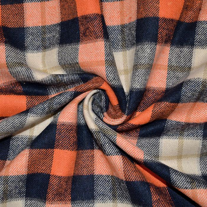 Flanela, kare, 18589-010, modro oranžna