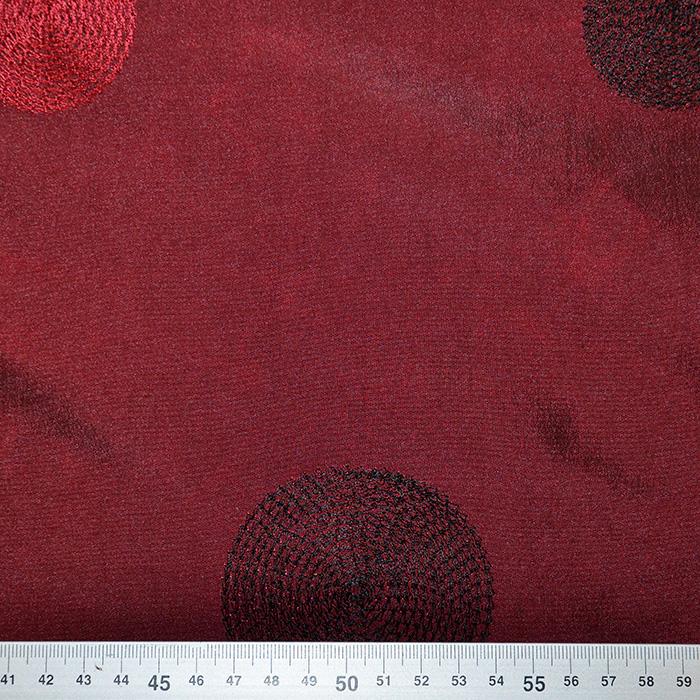 Taft, vezen, krogi, 18678-11, bordo rdeča
