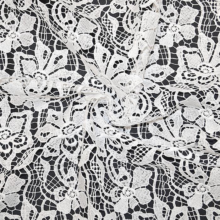 Čipka, cvetlični, 18776-1, bela