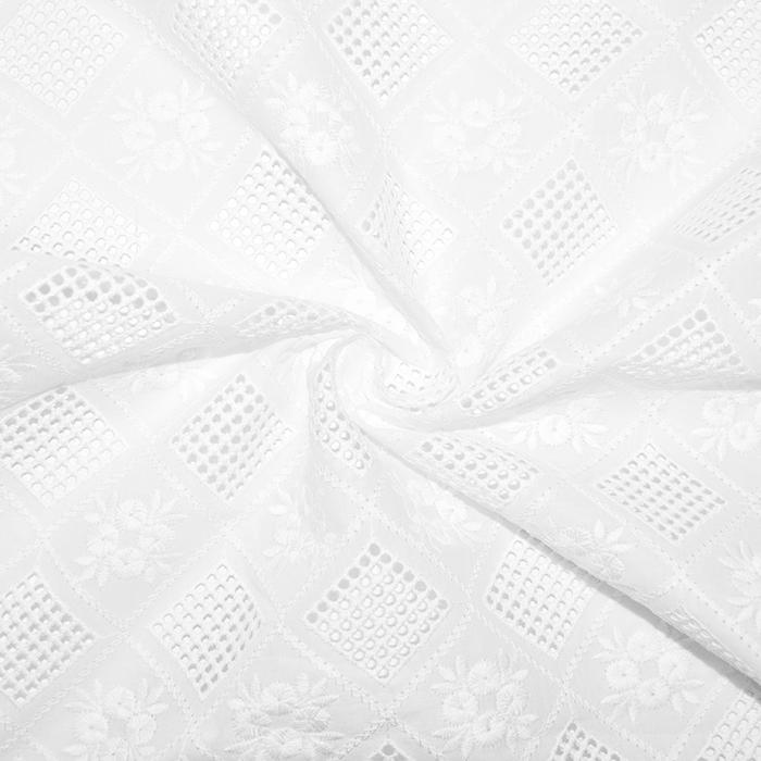 Bombaž, rišelje, geometrijski, 18783, bela
