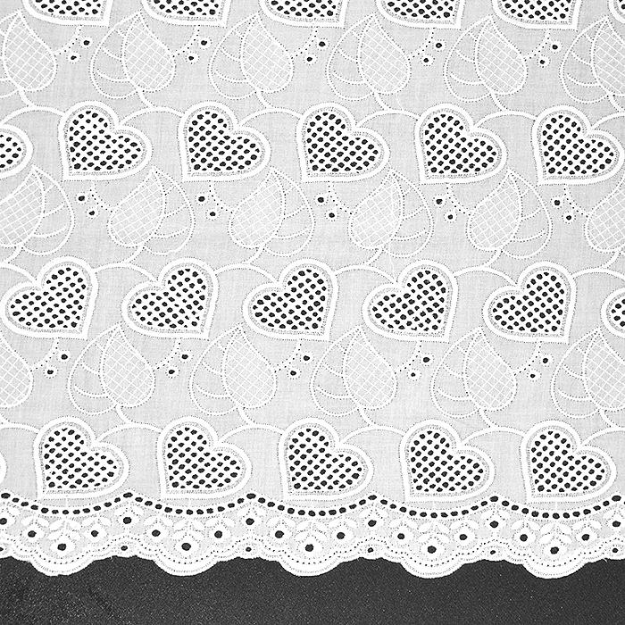 Bombaž, rišelje, srčki, 18784, bela
