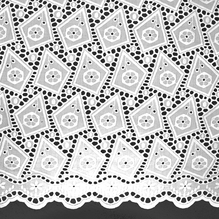 Bombaž, rišelje, geometrijski, 18786, bela