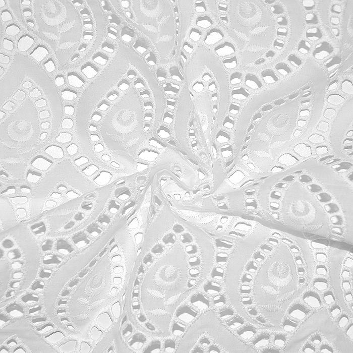 Bombaž, rišelje, geometrijski, 18787, bela