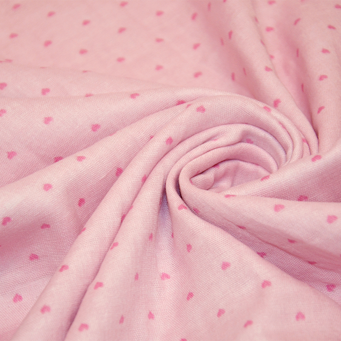 Tetra tkanina, dvojna, srčki, 18823-003, roza