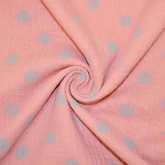 Tetra tkanina, dvostruka, točke, 19031-009, ružičasta-siva