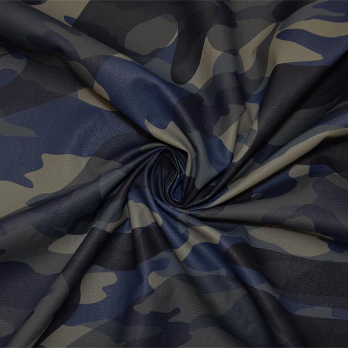 Umetno usnje, oblačilno, kamuflažni, 19057-008, modra