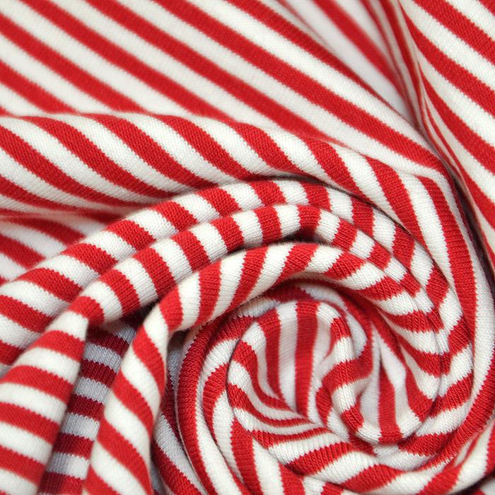 Jersey, bombaž, črte, 16153-115, rdeča