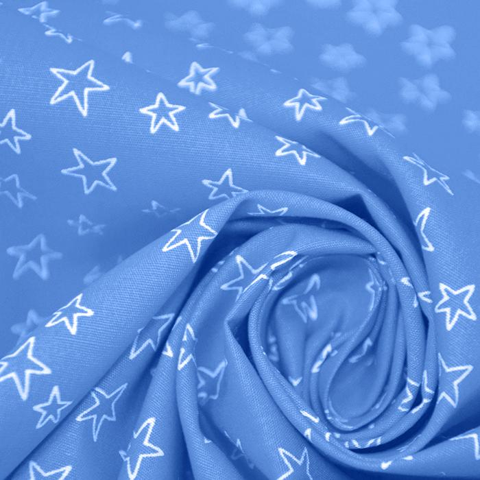 Bombaž, poplin, zvezde, 19134-003, svetlo modra