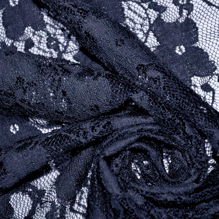 Čipka, elastična, cvetlični, 19138-008, modra