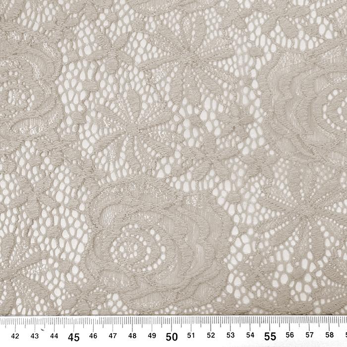 Čipka, elastična, cvetlični, 19157-052, bež