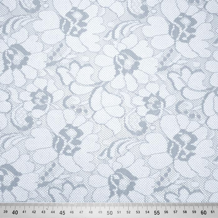 Čipka, elastična, cvetlični, 19168-061, sivo modra