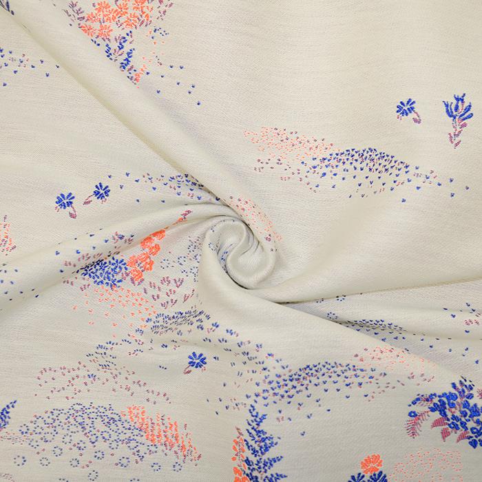 Žakard, cvetlični, 19397-3, bež modra