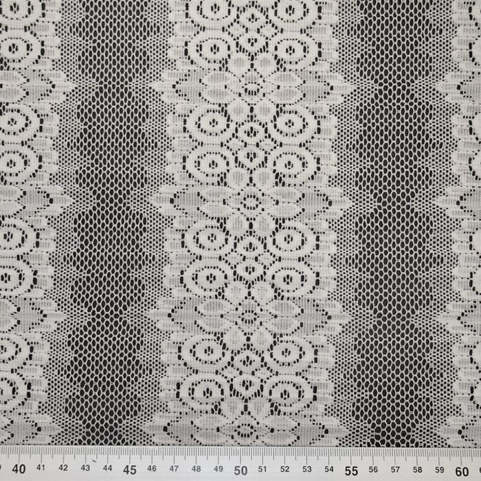 Čipka, plise, cvetlični, 19425-031, bela