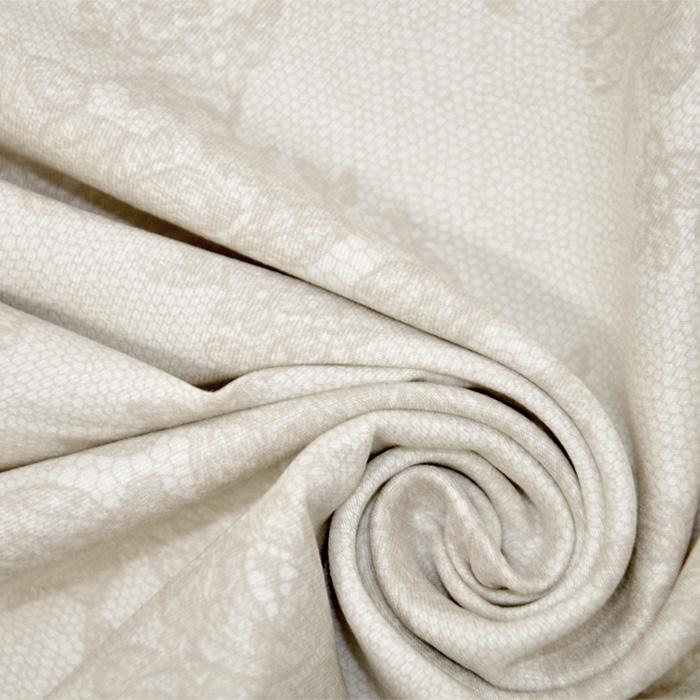 Tkanina, elastična, cvetlični, 19327-052, bež