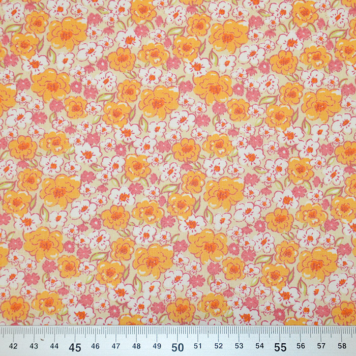 Bombaž, poplin, cvetlični, 19470-1, oranžna bež