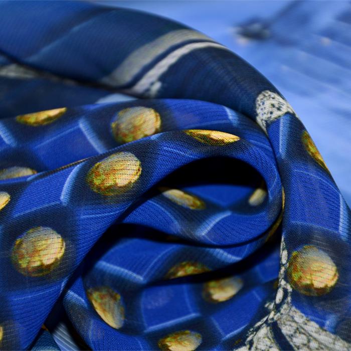 Tkanina, viskoza, ornamentni, 19538-7, modra